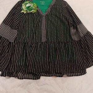 Style & Co Boho Sz XL Grey Black White Top